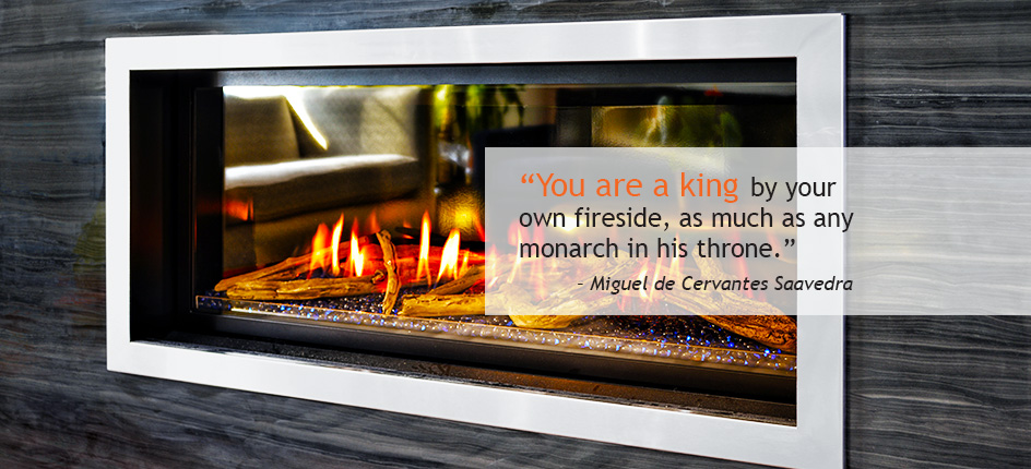 Image Of Fireplace With Miguel De Cervantes Saavedra Quote - Ember Fireplaces
